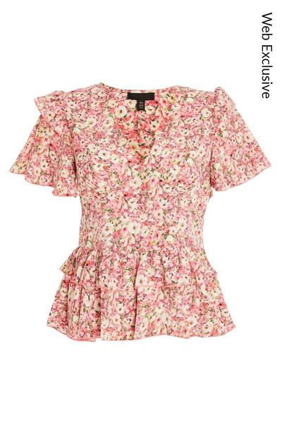 Pink Floral Frill Top